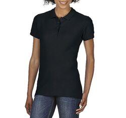 Женская хлопковая чёрная футболка-поло Gildan SoftStyle 64800L-426C