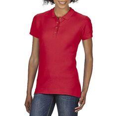 Женская красная хлопковая футболка-поло Gildan SoftStyle 64800L-199C