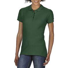 Женская хлопковя тёмно-зелёная футболка-поло Gildan SoftStyle 64800L-5535C