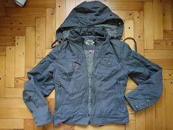 Деми джинсовая укороченная курточка с капюшоном парка бомбер