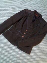 Пиджак, жакет, коричневый, женский, полоска, приталенный, классический