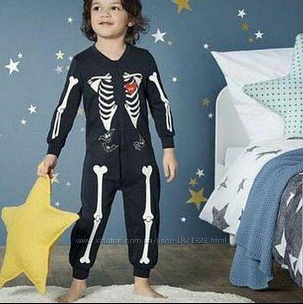 Пижама, ромпер Скелет, светится в темноте