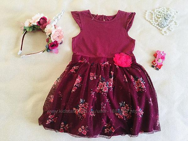 NUTMEG Пышное. Цветочное платье. Цвет Марсала. Нежный трикотажик. Пышная кр