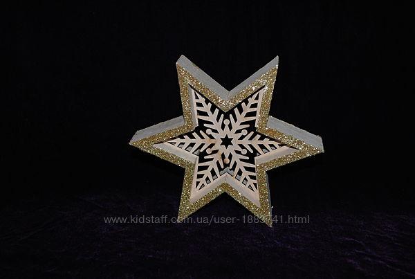 Звезда Новогодний декор игрушки в интерьер деревянные Германия