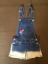 Стильный джинсовый комбинезон Benetton для девочки на 8-10 лет