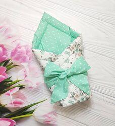 Летний двухсторонний плед-конверт на выписку, много цветов