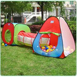 Детская игровая палатка - тоннель. 2 палатки и тоннель. Большой ассортимент