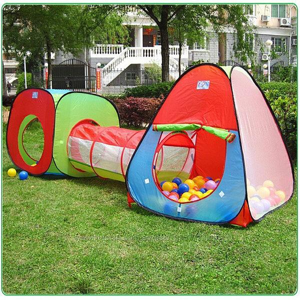 Детская двойная игровая палатка с тоннелем