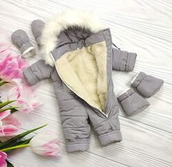 Комбинезон на овчине, пинетки и рукавички , много расцветок