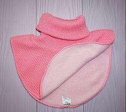 Тёплая, вязаная розовая манишка с флисовым подкладом  4-8 лет