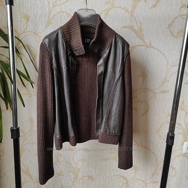 Куртка кофта пиджак шерстяная вставки из кожи GAP