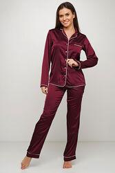 Женская шелковая пижама на пуговицах 44  и 46 размер