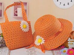 Комплект летняя детская шляпка и сумочка