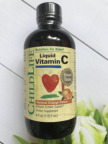 ChildLife , Витамин С для детей , жидкая форма с апельсиновым вкусом ,118 м