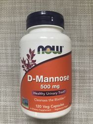 Now Foods, D-манноза, 500 мг, D-mannose , 120 капсул, Д манноза