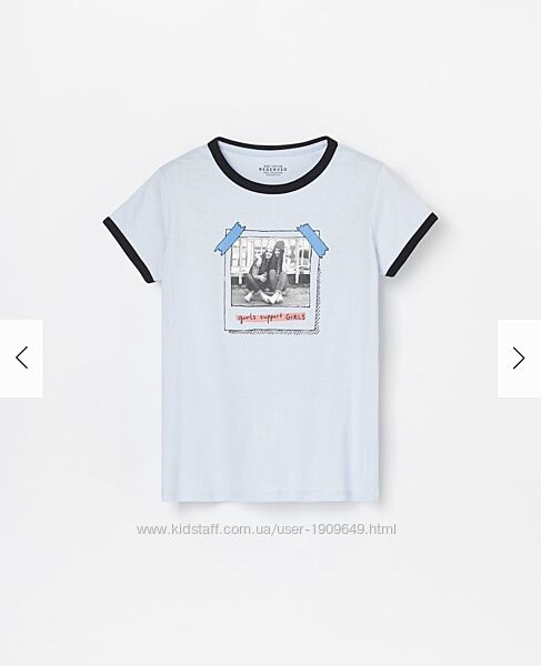 Reserved новая футболка девочке р. 110 с крутым принтом