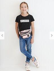 Reserved новая классная футболка девочке с принтом р. 122, 146, 158