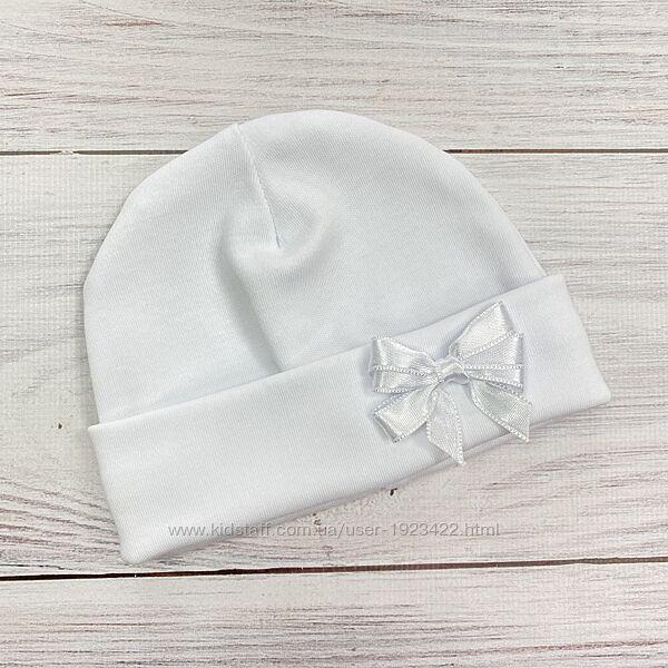 Шапочка для новорожденных с бантиком