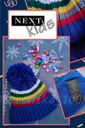 Классная зимняя синяя шапка Next с помпоном на 1-2 года