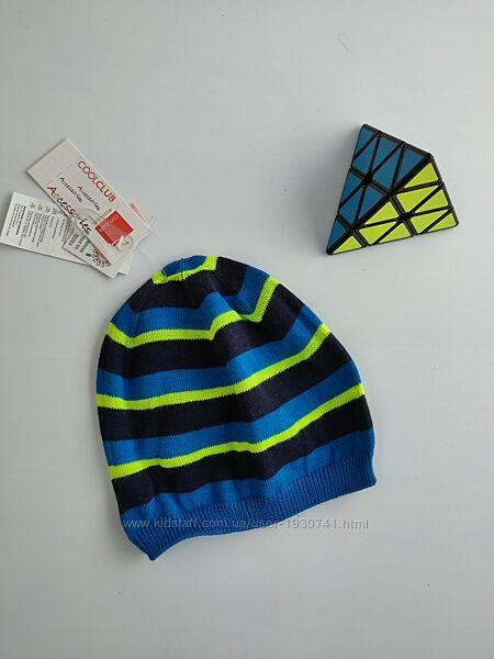 Легкая вязаная шапка для мальчика в полоску Cool Club,  p-p  52, 54, 56