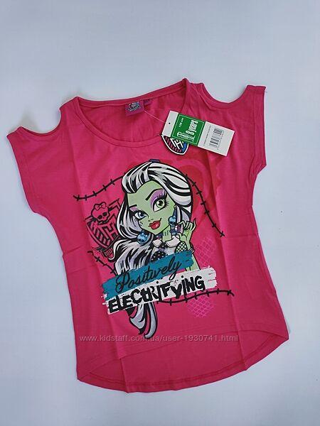 Яркая  розовая футболка с открытыми плечами monster high disney 128, 140, 1