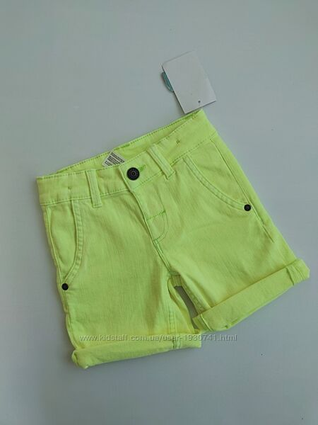 Яркие неоновые джинсовые салатовые шорты Palomino 98 см, на 3 года