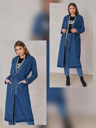 Джинсовый плащ пальто джинсовое тренч NA-KD 38 M 40 L
