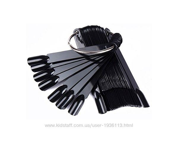 Чёрные выставочные типсы на кольце 50 шт