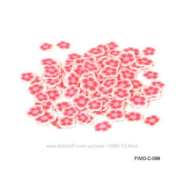 Добавки фимо цветочки для слайма много разных видов 100 шт в пакетике