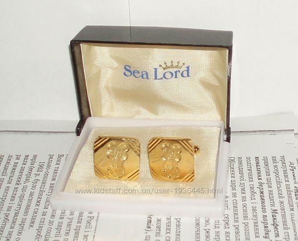 Запонки винтаж Олимпиада 80 СССР Sea lord позолота упаковка агитация