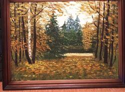Картина маслом пейзаж, лес