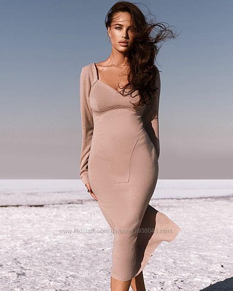 Платье миди дизайнерское трикотажное AniTi 200, 2 цвета