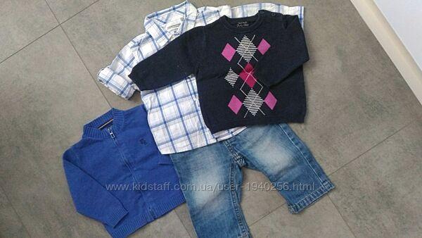 Комплект Mayoral Джинсы, Рубашка, 2 Кофты, размер 68