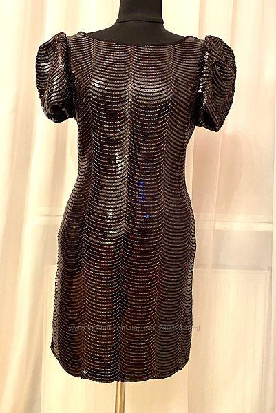 Платье в паетки р.12 на выход, шикарное
