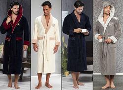 Nusa Халаты мужские с капюшоном и без, бамбуковые, велюровые, махровые и др