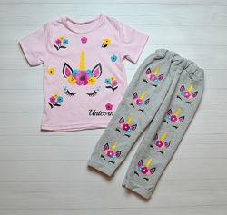 Костюм на Девочку Единорог футболка  штаны 1-3 года