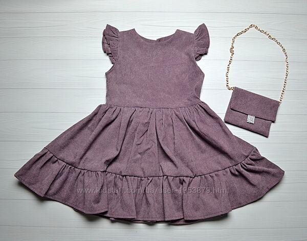 Нарядное Вельветовое Платье на девочку 3-5 лет 98-110