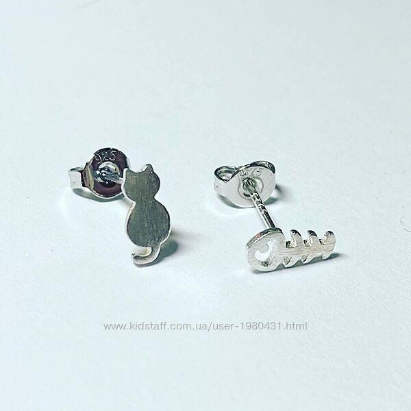 Серебряные серьги Котик и рыбка