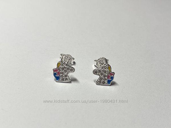 Серебряные серьги Единороги