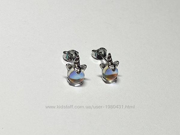 Серебряные серьги Единорожки