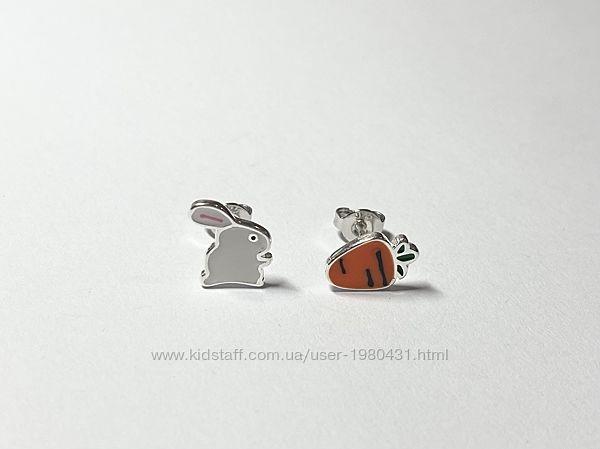 Серебряные серьги Зайчик и морковка
