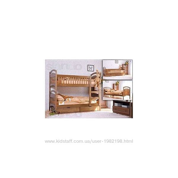 Карина двухъярусная кровать с ящиками и матрасами.