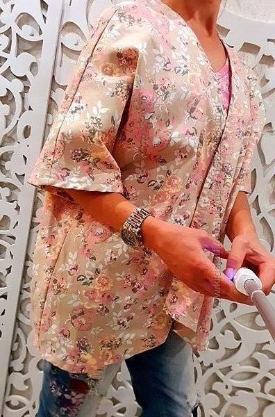 Пиджак накидка жакет женский нежный узор рисунок оверсайз XL 2XL L