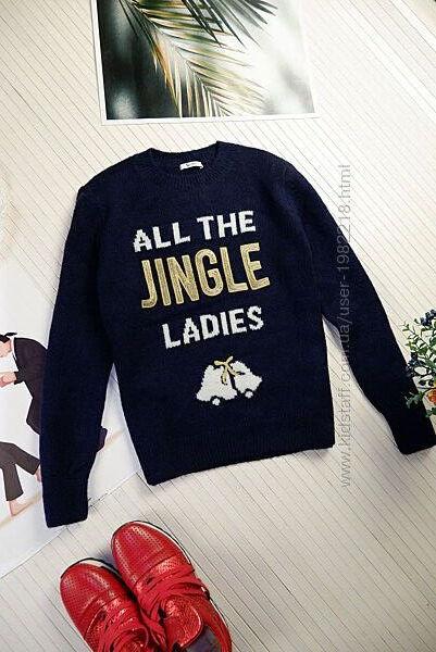 Свитер женский синий новогодний с золотой вышивкой нарядный свитшот гольф L