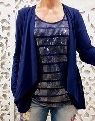 Кофта бренд M&S синяя пайетки блестящая оригинальная реглан женский