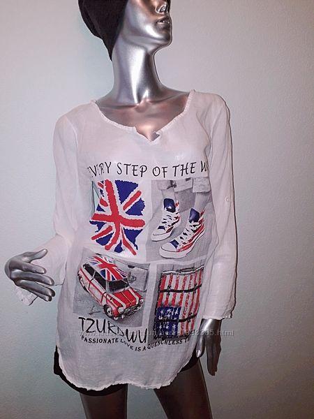 Рубашка женская белая легкая с принтом Лондон, маечка на бретельках