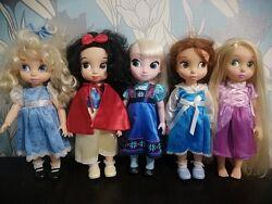 Куклы Disney animator Белоснежка, Золушка, Бель, Рапунцель, Эльза.
