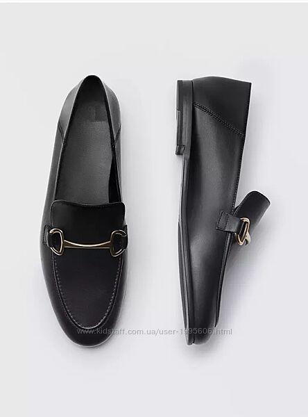 Шикарные кожаные туфли лоферы Massimo Dutti