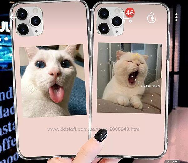 Чехол для телефона iPhone с изображением милого кота