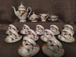 Фарфор. Чайный сервиз Валбжих 12 персон Золото. Новый Отличный подарок